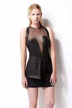 Datura cocktail dress - silk organza - hatler neck - laser cut peplum - double lined #womenswear