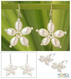 Cultured pearl flower earrings, 'Thai Romance' - Cultured pearl flower earrings