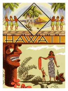Vintage Hawaii poster with woman in tropical dress, tiki, Diamond Head and hula girls in grass skirts.
