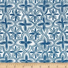 Ansley Home Decor Quarterfoil Blue from @fabricdotcom  Screen printed on a lightweight cotton duck, this fabric features a natural slub and is perfect for window treatments (draperies, valances, curtains, and swags), bed skirts, duvet covers, pillow shams, accent pillows, slipcovers and bedding. Colors include blue and white.