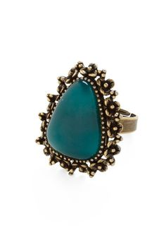 Rock the Weekend Ring, #ModCloth never thought teal & brass would pair so nicely $11.99