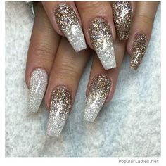 Silver and gold glitter on long nails ❤ liked on Polyvore featuring beauty products and nail care