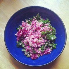 Quinoa, Beet, and Arugula Salad Allrecipes.com  If you like beets, you will like this recipe.  Yummy!