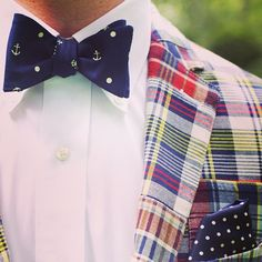 Preppy Madras Blazer, Anchor Bowtie, and Navy Polka Dot Pocket Square. Men's Spring Summer Fashion.