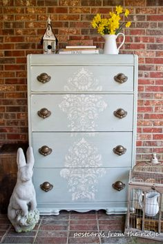 Stenciled Damask Furniture | Antoinette Damask Stencil Project by Postcards from the Ridge http://www.postcardsfromtheridge.com/2014/03/stenciled-old-world-chest-of-drawers.html