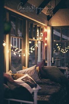 twinkle lights instead of curtains