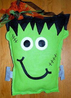 Burlap Craft Patterns Door Hangers | Frankenstein Burlap Door Hanger by PinkSassafras on Etsy