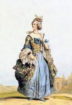 18th century fashion. French Rococo costume. Woman from the Court of Louis XV (1710-1774). Costumes historiques de ville ou de théatre et travestissements.