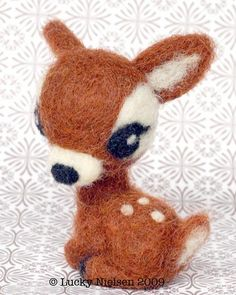 felted wool animals Little Fawn # handmade needle felted # Glasseslit Needle Felted Animals, Felt Animals, Cute Animals, Wool Dolls, Felt Dolls, Rag Dolls, Fabric Dolls, Crochet Dolls, Felted Wool Crafts