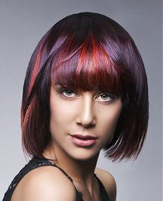 A medium brown straight coloured multi-tonal long-bob red womens poker-straight hairstyle by The Art of Hair