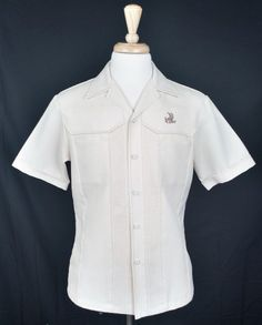 Vintage Iolani Executive Men's Ivory polyester Button-Up Short Sleeve Shirt Med #Iolani #Hawaiian