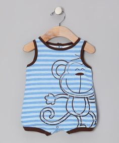 Take a look at this Blue Stripe Monkey Romper - Toddler by Baby Togs on #zulily today!