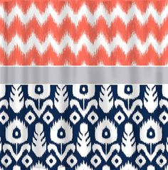 Custom IKAT Chevron Shower Curtain Any Color shown by redbeauty- also an idea for curtains