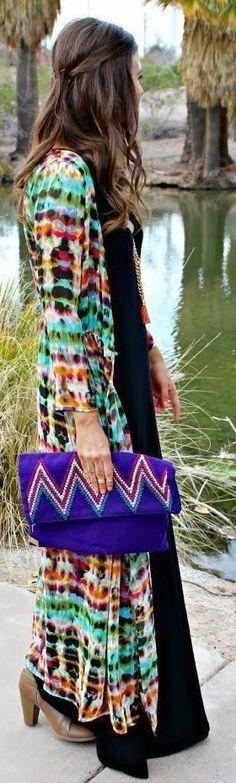 #boho #fashion #spring #outfitideas |Colorful Cardigan Dress                                                                             Source