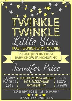 twinkle twinkle little star baby shower invitation wording - Google Search