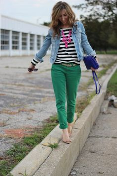 Lilly's Style: colored skinnies + striped shirt + denim jacket + bubble necklace + nude flats.