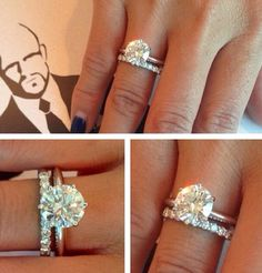 Solid white gold band, solitaire round cut diamond with a diamond wedding band.... Basically perfection!