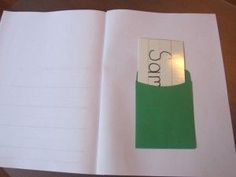 Keep children's name cards in a pocket in their journals for instant access- great idea for the beginning of the year when they are still learning to write their names
