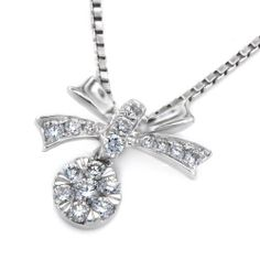IAD  18K/750 White Gold Bow with Cluster Diamond by IADJewellery, $593.00