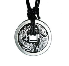 LOPEZ KENT Necklace-Men Stainless Steel Pendant Necklaces Dragon Claw Red Ball Red