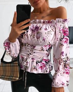 Shop Frill Hem Floral Print Blouse right now, get great deals at joyshoetique Floral Tops, Floral Prints, Printed Blouse, No Frills, Blouses, Modern, Shirts, Shopping, Fashion