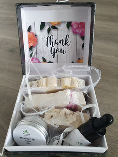 Thank You Box Handmade Cosmetics, In Cosmetics, Handmade Soaps, Natural Cosmetics, Organic Body Wash, Anniversary Favors, Coconut Soap, Get Well Soon Gifts, Cream For Dry Skin