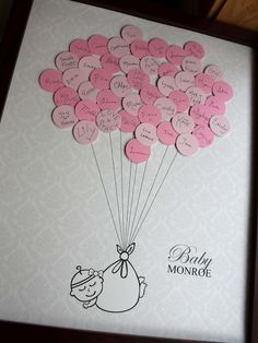 Looking for an owl themed guest book for a baby shower? Make your baby shower interesting and fun! Your guests sign a balloon at the baby shower, then attach them to complete this cute artwork! Deco Baby Shower, Baby Shower Balloons, Baby Boy Shower, Baby Shower Gifts, Baby Party, Baby Shower Parties, Baby Shower Themes, Shower Ideas, Baby Showers