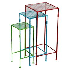 Set of 3 Nesting Tables - Red, Blue, Green
