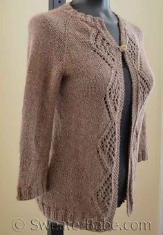 NEW! The #175 Diamonds and Lace Top-Down Cardigan knitting pattern from SweaterBabe.com. An essential cardigan in a luxe alpaca, silk blend.