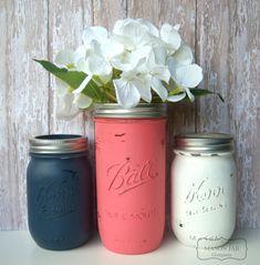 Coral and Navy Wedding Mason Jars Painted by themasonjarcompany, $19.00