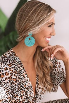 """You are sure to look like a total beach babe when you accessorize with our adorable turquoise beaded """"Serendipity"""" statement earrings feature circle studs and large pendants with an open center! Diy Clay Earrings, Turquoise Earrings, Women's Earrings, Circle Earrings, Statement Earrings Outfit, Fashion Earrings, Fashion Jewelry, Making Ideas, Fine Jewelry"""