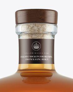 Cognac Glass Bottle w/ Bung Mockup (Close-Up)