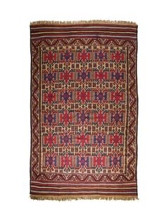 "Faridah meaning ""precious pearl"" is an antique Herat Kilim rug dated 1940-50. The design is rich in female symbols: running water (for life), burdocks, hand on hips (fertility) and abundance. All elements that would have been highly regarded by Afghan tribes.   Colour symbology in Afghan rugs: Blue represents trustworthy, dependable and committed. Red means wealth, courage, beauty, joy and luck. Brown or neutral colours are associated with all things natural and wholesome, like the earth."
