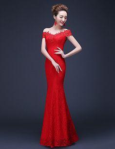 Trumpet/Mermaid Off-the-shoulder Floor-length Lace Evening Dress – USD $ 59.99
