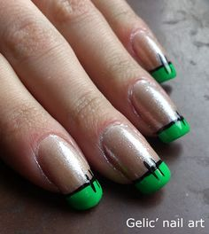 Gelic' nail art: Halloween Frankenstein funky french