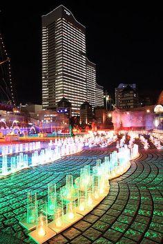 Silent night of candle lights,: Minato-mirai zone, Yokohama city Japan