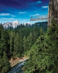 CAPILANO SUSPENSION BRIDGE PARK  Vancouver, British Columbia, Canada    The 450-foot-long, 230-feet-high Capilano Suspension Bridge has stood over the Canadian West Coast temperate rainforest in Capilano Canyon since 1889, making the park the country's oldest man-made visitor attraction. Cliffwalk—a series of suspended walkways stretching 700 feet alongside the canyon—was added in 2011.
