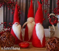 Set of three Santa in Red Needle Felted Wool