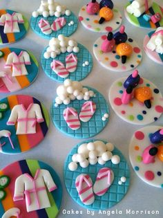 Spa cupcake toppers by CakesbyAngela on Etsy