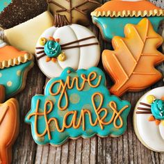 """252 Likes, 12 Comments - Cindy Bentley (@rockchickcookies) on Instagram: """"Give Thanks! #rockchickcookies . . . #givethanks #dfwbaker #dfwbakery #dfwcookies #dallascookies…"""""""