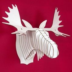 Fred Large Moose Trophy White or Brown by CardboardSafari on Etsy, $51.00