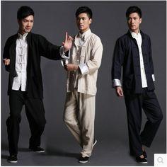 Chinese Coat: SALE 3pcs/set Chinese traditional Tang suits linen... Tai Chi Clothing, Tai Chi Moves, Kung Fu Uniform, Kung Fu Pants, Tai Chi For Beginners, Kung Fu Shoes, Martial Arts Clothing, Men In Uniform, Martial