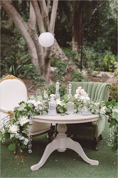 Vintage Wedding neutral and romantic sweetheart table - This Oh So Elegant Vintage Wedding packs a pretty punch. The day is soft and elegant from start to finish with small pops of adventurous color. Wedding Table, Wedding Reception, Rustic Wedding, Rustic Victorian Wedding, Victorian Wedding Themes, Wedding Events, Sweetheart Table Decor, Deco Champetre, Neutral Wedding Colors