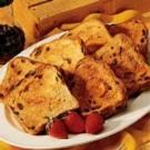 French Toast Bake with strawberry sauce