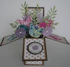 3 d box card using memory box dies Would look nice with different colours as a Mother's Day card!