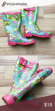 Chooka Paisley Rain Boots Chooka rain boots with brightly colored Paisley pattern. Only worn once! ☂️🌧 Chooka Shoes Winter & Rain Boots