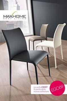 EMMY: Sedia in ecopelle con schienale sinuoso e dallo stile fresco e slanciato, ideale per arredare numerose tipologie di ambienti.