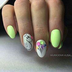 Diy Acrylic Nails, Summer Acrylic Nails, Gel Nail Art, Nail Manicure, Spring Nails, Toe Nails, Bird Nail Art, Animal Nail Art, Trendy Nail Art