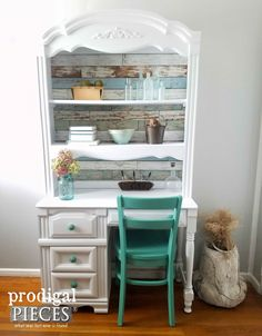 Vintage Broyhill Hutch Desk Refreshed with Paint and Paper by Prodigal Pieces | prodigalpieces.com #refurbishedfurniture