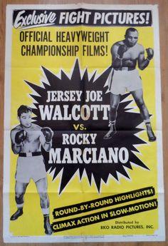 1952 Rocky Marciano v Jersey Joe Walcott fight film poster Boxing Fight, Boxing Boxing, Boxing Posters, Wrestling Posters, Boxing History, Champions Of The World, Boxing Champions, Vintage Box, Vintage Sport